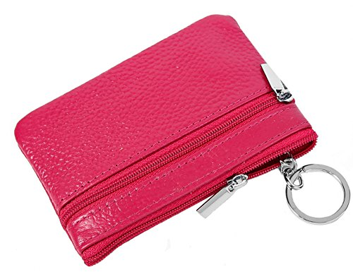 (iSuperb RFID Genuine Leather Coin Purse Zipper Pouch Card Case Wallet with Key Ring 4.48x2.9 inch (Rose))