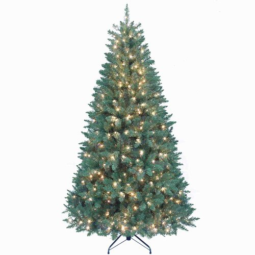Pre Lit Christmas Trees Amazon - Kurt Adler Pre-Lit Point Pine Christmas Tree, 7-Feet, with 350 Clear Lights