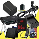 NP-FV100 Lithium Ion Replacement Battery w/Charger + 8GB SDHC Memory Card + Mini HDMI + Tripod + Memory Card Reader/Wallet + Deluxe Starter Kit for Sony NEXVG10, NEXVG20 Interchangeable Lens HD Handycam Camcorder DavisMAX Accessory Bundle