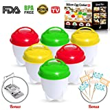 Egg Cooker - As Seen On TV , Silicone Egg Poachers for hard & soft boiled eggs Without the shell, Set of 6 Pack + FREE Egg Slicer & 50 Decorative Flags
