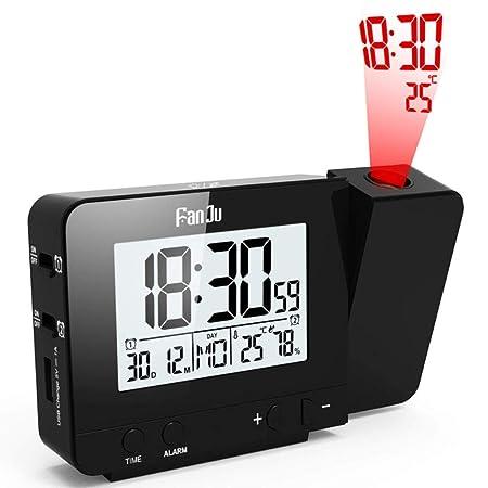 XLZZLDZ Reloj Despertador Proyector Digital Despertador LED Mesa ...