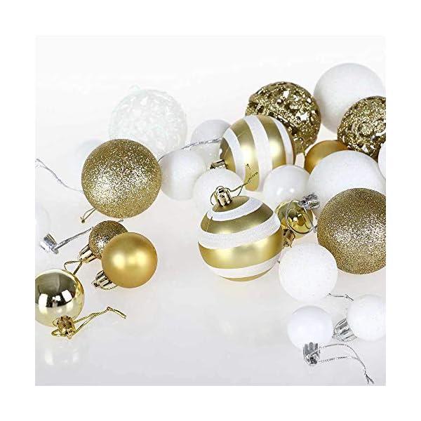 BAKAJI Confezione 100 Palline di Natale Diametro 3/4/6 cm Addobbi e Decorazioni per Albero di Natale (Bianco Oro) 3 spesavip