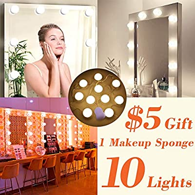 LED Vanity Lights Mirror Kits & Makeup Sponges Hollywood Makeup Lights for Mirror 10 Dimmable Bulbs Warm and Cold Light Dresser Mirror