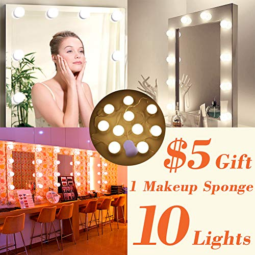 LED Vanity Lights Mirror Kits & Makeup Sponges Hollywood Makeup Lights for Mirror 10 Dimmable Bulbs Warm and Cold Light Dresser Mirror by sanatty