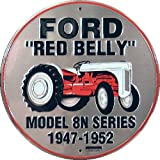 """8"""" Round Metal Vintage Signs Ford Red Belly Tractor"""