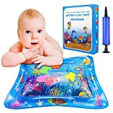 Anynepew Baby & Infant Toys Tummy Time Water Play Mat, Inflatable Sensory Newborn Toys, Perfect Baby Toy for 3 4 6 9 to 12 Months Old Boy or Girl Gift, 6 Floating Toys [24