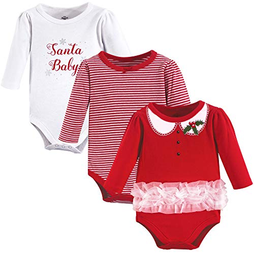 Little Treasure Unisex Cotton Bodysuits, Santa Baby 3-Pack Long-Sleeve, 0-3...