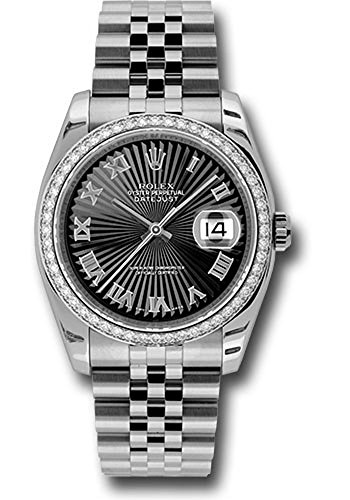(Rolex Datejust 36mm Stainless Steel Case, 18K White Gold Bezel Set With 52 Brilliant-Cut Diamonds, Black Sunbeam Dial, Roman Numeral and Stainless Steel Jubilee Bracelet.)