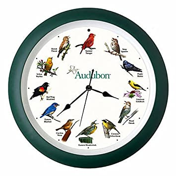 KensingtonRow Home Collection Wall Clocks – Singing Birds Wall Clock – 13 Diameter – Audubon Society – Bird Clock