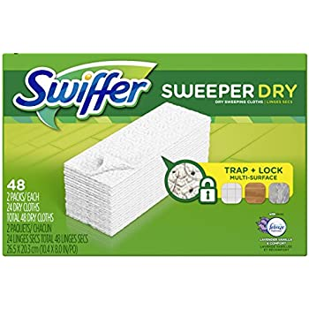 Swiffer Sweeper Dry Sweeping Pad Refills for Floor Mop, Refill Cloth with Febreze Lavender Vanilla & Comfort Scent, 48 Count