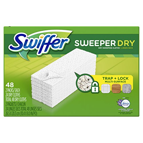Swiffer Sweeper Dry Sweeping Pad Multi Surface Refills for Dusters Floor Mop, Lavender & Vanilla Comfort, 48 Count (Packaging May - Duster Refill Floor