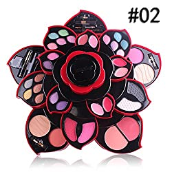 Makeup Palette Professional 23 Ultimate Colors Eyeshadow Palette Makeup Contouring Kit with Mirror&Makeup Brush Layered Flower Shaped Makeup Gift Set Eyeshadows Blush Concealer&Lip Gloss Kit (B)