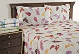 Linenwalas King Size Bed Sheets - Fern Pattern Bedding for Teen Girls | 300 Thread Count | Printed Soft Sheets With Deep Pocket Sale ( King)