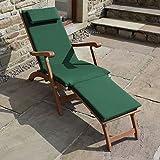 Trueshopping Garden Patio Steamer Sun Lounger 'Ambleside' Hardwood Patio Chair includes Dark Green Luxury Cushion and Folding Side Table