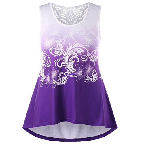 Price comparison product image Kanzd Colorful Fashion Womens Printed Lace Insert Ombre Tank Tops O-Neck Sleeveless Blouse (2XL, B Purple)