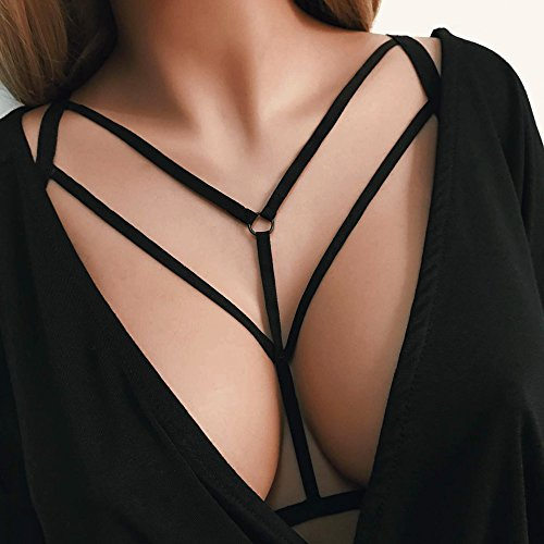 Nihewoo Alluring Women Cage Bra Elastic Cage Bra Strappy Hollow Out Bra Bustier Black by Nihewoo (Image #2)