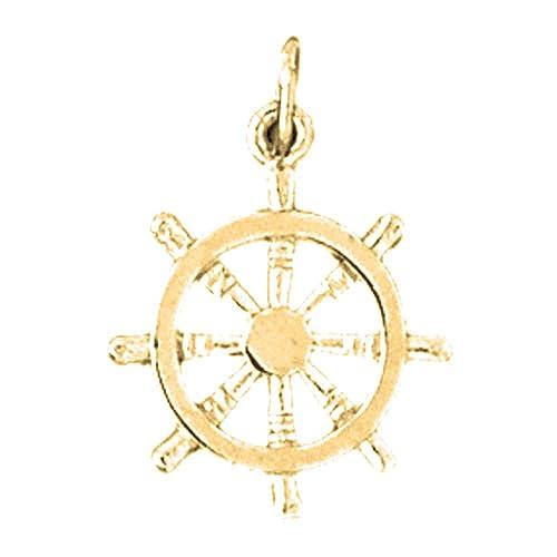 24 mm Jewels Obsession Wheel Pendant 18K Yellow Gold Wheel Pendant
