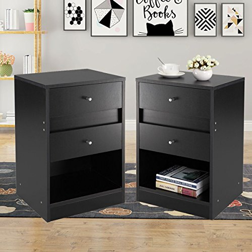 JAXPETY 2 Sets Home End Table/Core Nightstand Storage Shelf with Two Drawers Three Layer Cabinet Black - Plus 2 Drawer Set