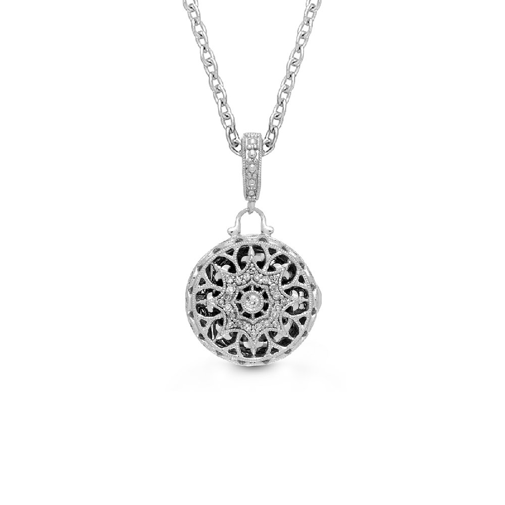 Sterling Silver-Diamond-Round Custom Photo Locket Necklace-22-inch chain-The Bea by With You Lockets