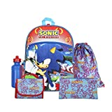 FAB Starpoint Sega Sonic Blue 16' Backpack Back to School Essentials Set