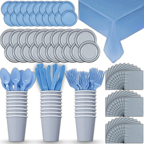 Paper Tableware Set for 24 - Silver & Light Blue - Dinner and Dessert Plates, Cups, Napkins, Cutlery (Spoons, Forks, Knives), and Tablecloths - Full Two-Tone Party Supplies Pack ()