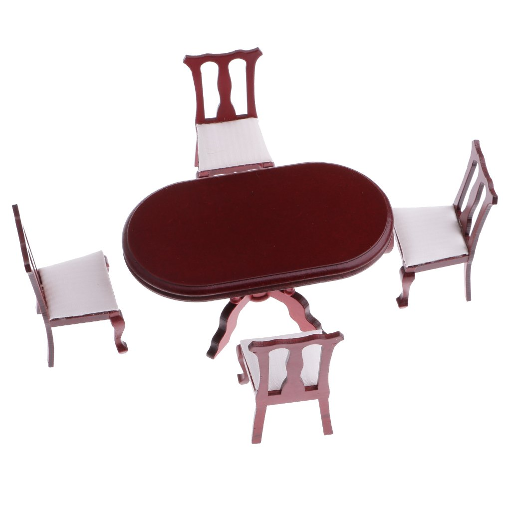 Homyl 1:12 Rosewood Dining Table Chairs Kitchen Furniture Set Dollhouse Decor