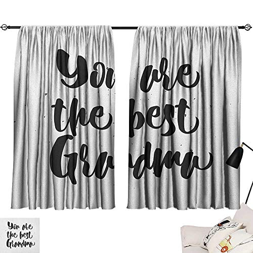 Warm Family Grandma Insulated Sunshade Curtain Monochrome Quote About Best Grandmother on a Grunge Inspired Dotted Background Set of Two Panels 63