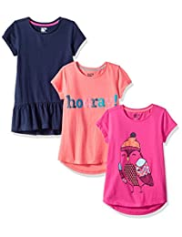 Spotted Zebra girls 3-Pack Short-Sleeve Tunic Tops Tunic Shirt