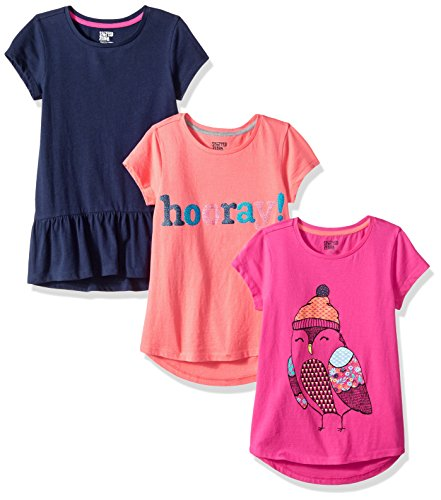 Spotted Zebra Little Girls' 3-Pack Short-Sleeve Tunic Tops, Ditsy Bird, X-Small (4-5)