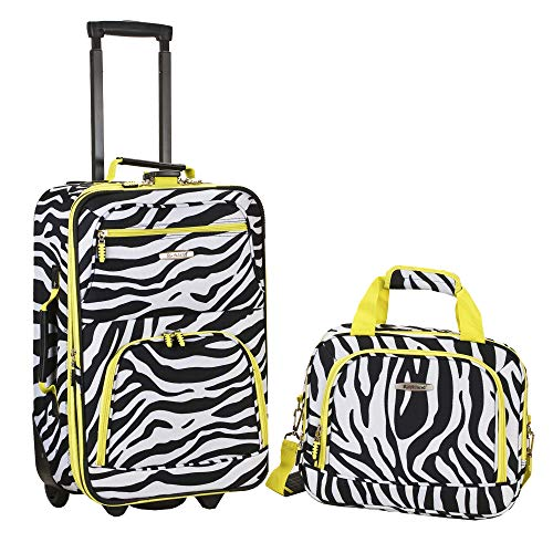 Rockland Expandable Lime Zebra 2-piece Lightweight Carry-on