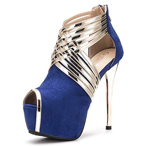 - fereshte Womens Sexy Peep-Toe Ankle Strappy Platform Stiletto High Heels Sandals Suede Blue US 9