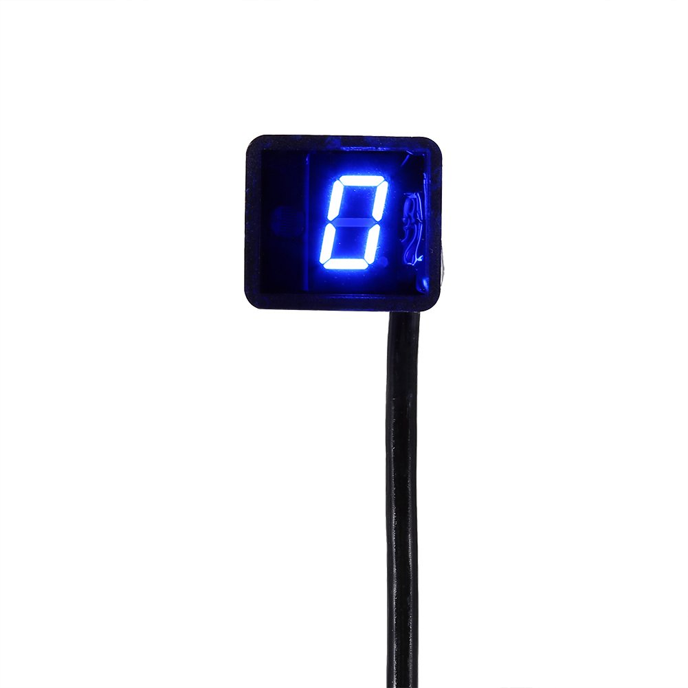 Waterproof Universal WaterproofDigital Gear Indicator Motorcycle LED Display Shift Lever Sensor Blue Light for fits by Keenso