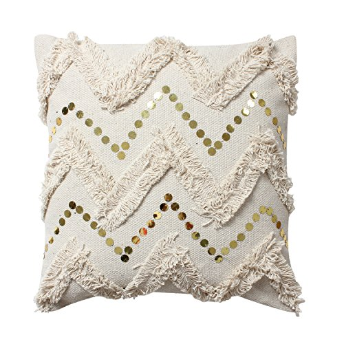 ThymeHome Magnolia Zigzag Fringe Hand Woven Dhurri Indoor Pillow - 100% Cotton Decorative Accent Pillow 18x18 Inch Natural