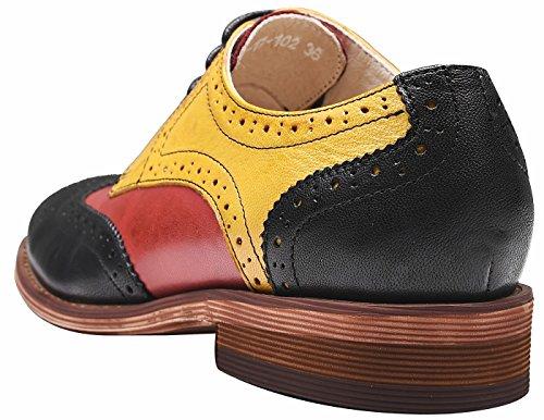 Per Lupetti Scarpe nero Donna Simplec A Vintage Pelle In Oxford Rosso Multicolor giallo Trapuntata aAqz0