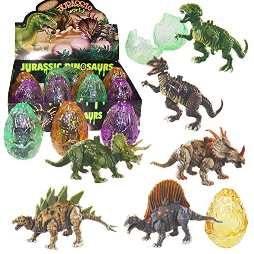 Liberty Imports 12 Pack Deluxe 3D Action Figures Realistic Figurine Puzzles in Jurassic Hatching Eggs | Ideal Kids Toy Party Favors Bulk Supplies (Dinosaurs) ()