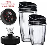 Nutri Ninja Blender Cups and Blade (7-FINS ONLY) Set | 5-Piece Replacement Parts & Accessories for Nutri Ninja Auto iQ BL482 BL642 NN102 BL682 BL2013 Blenders