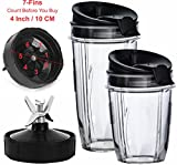 ninja replacement cup blades - Nutri Ninja Blender Cups and Blade (7-FINS ONLY) Set | 5-Piece Replacement Parts & Accessories for Nutri Ninja Auto iQ BL482 BL642 NN102 BL682 BL2013 Blenders