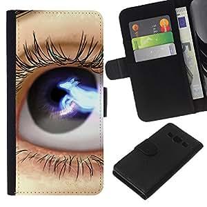 - LASHES CLOSE EYE UP SPACE BLACK BLUE - - Prima caja de la PU billetera de cuero con ranuras para tarjetas, efectivo desmontable correa para l Funny House FOR Samsung Galaxy A3