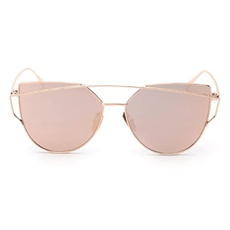 9ea31beb28c Doinshop Twin-Beams Classic Women Sunglasses Metal Frame Mirror Cat Eye  Glasses (Rose Gold)  Amazon.ca  Luggage   Bags