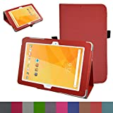"Acer Iconia One 10 B3-A20 Case,Mama Mouth PU Leather Folio 2-folding Stand Cover with Stylus Holder for 10.1"" Acer Iconia One 10 B3-A20 Android Tablet,Red"