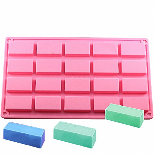 MoldFun 20-Cavity Small Rectangle Rectangular Silicone Mold for Baking Cake Making Soap Concrete Resin Bar Chocolate Candy Food Tart Prism Cheese