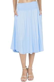 aa083996d75d DJT Women's High Waist Flared Skirt Pleated Midi Skirt with Pocket ...