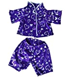 "Toys : Dark Purple Silver Heart Pj's Teddy Bear Clothes Outfit Fits Most 14"" - 18"" Build-A-Bear, Vermont Teddy Bears, and Make Your Own Stuffed Animals"