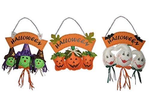 Set of 3 Ghost Witch Pumpkin 12-Inch Scarecrow Halloween Fall Harvest (Bat Halloween Makeup Tutorial)