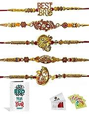 Craftsman Rakhi for brother Bhaiya Bhabhi Gift Set of 5 Pcs Rakhi for family Raksha Bandhan Festival Rakhi for Bhaiya and Bhabhi, Indian designer latest Rakhi for bhai Thread Bracelets