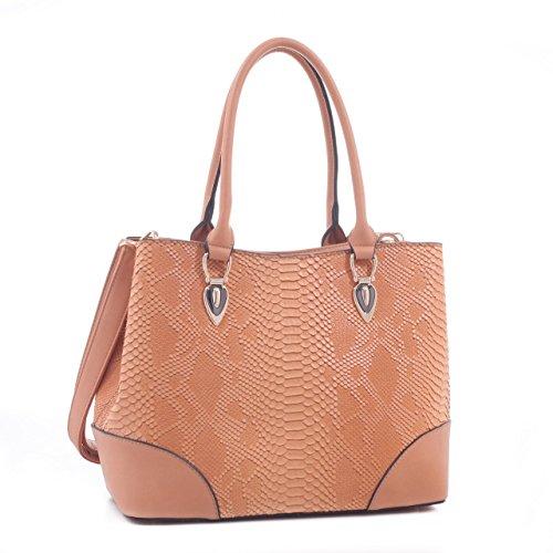 Jenele Python Embossed Pattern Faux Leather Tote Shoulder Hand Bag - ()