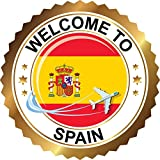 Spain Travel Welcome Label Home Decal Vinyl Sticker 12'' X 12''
