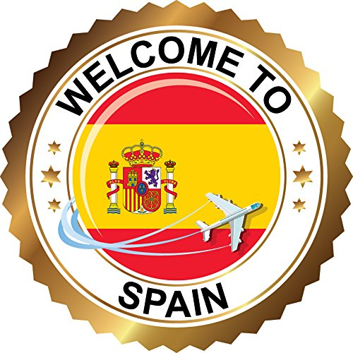 Spain Travel Welcome Label Home Decal Vinyl Sticker 12'' X 12'' by innagrom