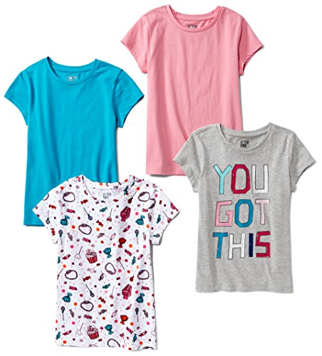 Spotted Zebra Little Girls' 4-Pack Short-Sleeve T-Shirts, Candy,