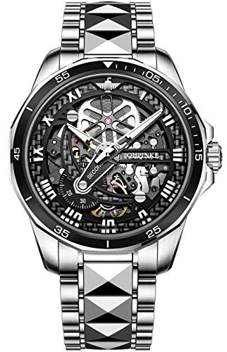 OUPINKE Skeleton Watches for Mens Automatic Mechanical Tungsten Steel Sapphire Crystal Luxury Dress Wrist Watches…